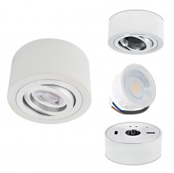 LED Aufbaustrahler Set 5W Aluminium weiß rund 230V dimmbar flach