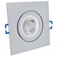 IP44 LED Einbaustrahler Set Chrom glänzend eckig GU10 5W 230V