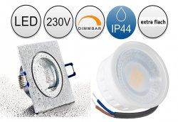 IP44 LED Einbaustrahler flach 5W Alugebürstet bicolor eckig 230V dimmbar