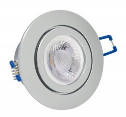 IP44 LED Einbaustrahler flach Chrom rund 5W 230V dimmbar