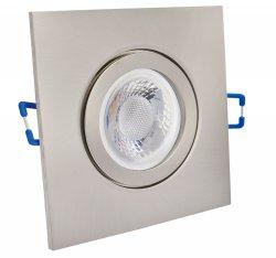 IP44 LED Einbaustrahler flach Edelstahlgebürstet eckig 5W 230V dimmbar