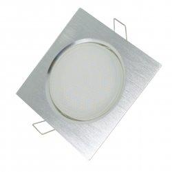 LED GX53 Einbaustrahler Set 6W Alu-gebürstet eckig 230V flach