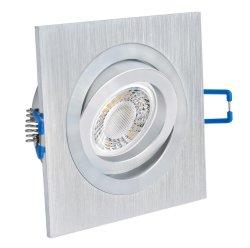 LED 5W Einbaustrahler flach Alugebürstet eckig 230V dimmbar