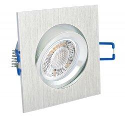 LED 5W Einbaustrahler flach Alugebürstet eckig 230V dimmbar schwenkbar