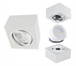 LED Aufbaustrahler Set 5W Aluminium weiß eckig 230V dimmbar flach