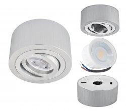 LED Aufbaustrahler Set 5W Aluminium gebürstet rund 230V dimmbar flach