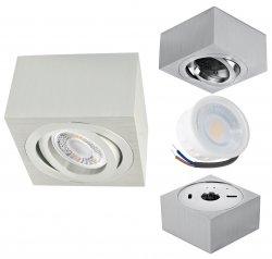 LED Aufbaustrahler Set 5W Aluminium gebürstet eckig 230V dimmbar flach