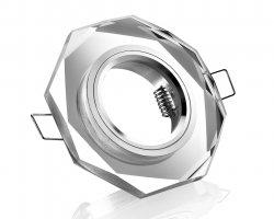 LED Einbaustrahler Kristall Glas Einbaurahmen GU10 Klar 8-eckig