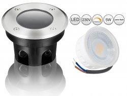 LED 5W Bodeneinbaustrahler Edelstahl rund flach dimmbar 230V IP67 Außen