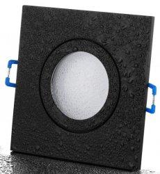 IP44 LED Einbaustrahler Set schwarz eckig GU10 5W 230V