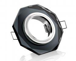 LED Einbaustrahler Kristall Glas Einbaurahmen GU10 schwarz 8-eckig