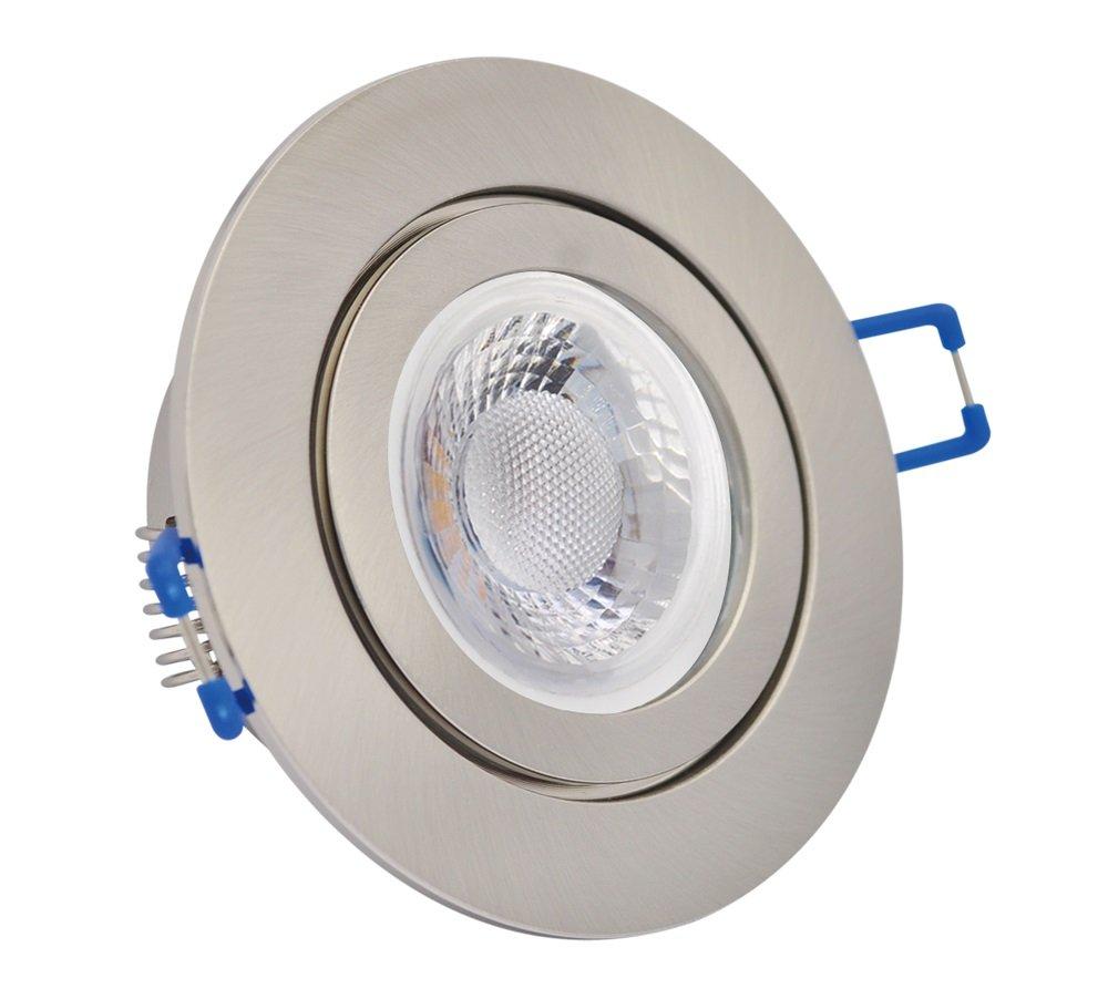 IP20 LED Einbauspot flach dimmbar Bad Terrasse 20W gebürstet rund 20V