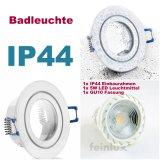 IP44-Feuchtraum LED Einbaustrahler set weiß 5W GU10 230V kaltweiß