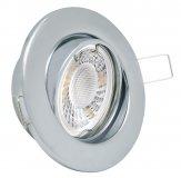 LED GU10 Einbauleuchten Set 5W Chrom-Glänzend rund 230V
