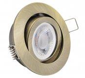 LED GU10 Einbauleuchten Set 5W Altmessing rund 230V