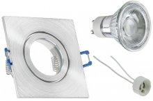 IP44 LED Einbaustrahler Set Alugebürstet eckig GU10 5W 230V
