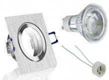 IP44 LED Einbaustrahler Set Alugebürstet/Bicolor eckig GU10 5W 230V