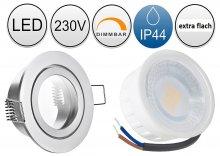 IP44 LED Einbaustrahler flach 5W Alugebürstet rund 230V dimmbar