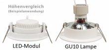 IP44 LED Einbaustrahler flach 5W Alugebürstet bicolor rund 230V dimmbar