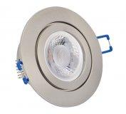 IP44 LED Einbaustrahler flach Edelstahlgebürstet rund 5W 230V dimmbar