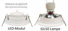 LED 5W Einbaustrahler flach Chrom-Glänzend rund 230V dimmbar