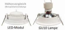 LED 5W Einbaustrahler flach Messing-Gold eckig 230V dimmbar