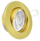 LED 5W Einbaustrahler Set Messing-Gold rund 230V dimmbar