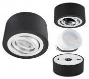 LED Aufbaustrahler Set 5W Aluminium schwarz rund 230V dimmbar flach