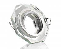 LED Einbaustrahler Kristall Glas Einbaurahmen GU10 Klar 8-eckig schwenkbar