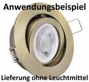 LED Einbaurahmen GU10 Einbaustrahler rund Altmessing