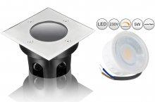 LED 5W Bodeneinbaustrahler Edelstahl eckig flach dimmbar 230V IP67 Außen