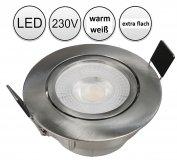 LED Einbaustrahler flach 5W warmweiß silber gebürstet 230V schwenkbar