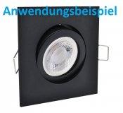 LED Einbaustrahler schwarz eckig GU10 Einbaurahmen schwenkbar