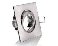 LED Einbaurahmen GU10 Einbaustrahler eckig Silber gebürstet